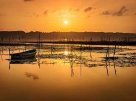 美しい夕日の里。印旛沼