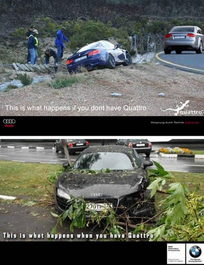 (上)アウディ「Quattroをつけていないとこうなる」