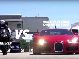 【動画】時速400キロ!世界一速いバイク「カワサキ ニンジャH2R」vsスポーツカー…勝者はどちら?