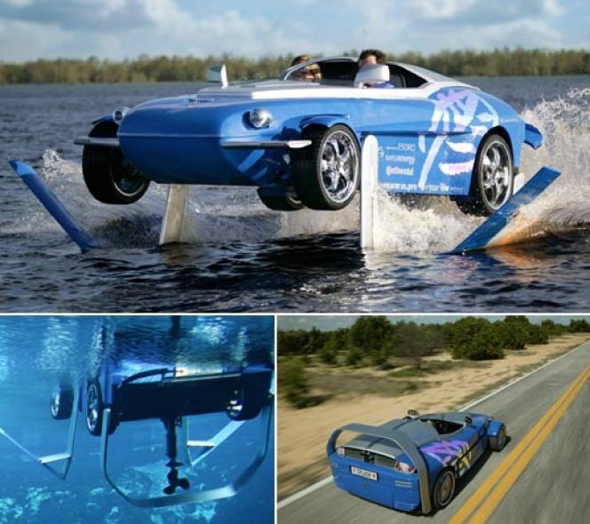 水上に浮く車…?